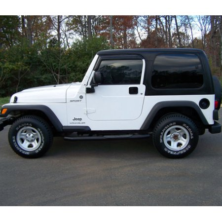 - All American Auto Dark Smoke Acrylic Side Window Deflector/Visor 2-Piece Set for 1997-2006 Jeep Wrangler 2 Door