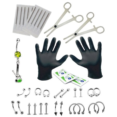 BodyJ4You 36PC PRO Piercing Kit Steel 14G 16G Turtle Belly Ring Tongue Nipple Nose Jewelry