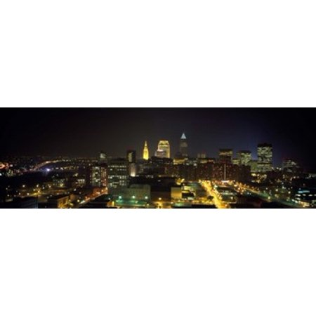 Aerial view of a city lit up at night Cleveland Ohio USA Poster - Party City Cleveland Ohio