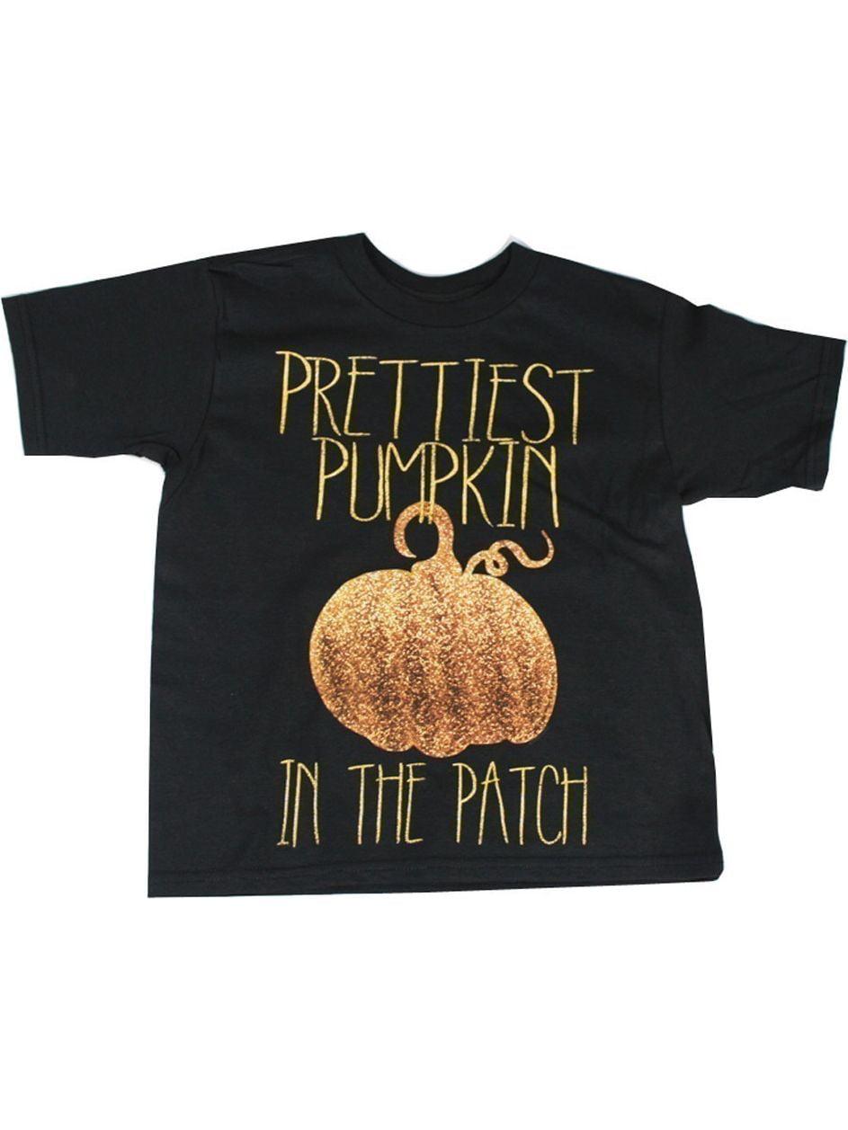 "Girls Black Glitter ""Prettiest Pumpkin"" Print Cotton T-Shirt"