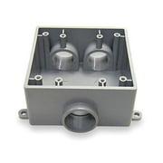 CANTEX Weatherproof Electrical Box,  2-Gang,  3-Inlet,  PVC 5133401