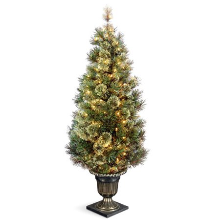 National Tree Pre-Lit 5' Wispy Willow Grande Entrance Artificial Christmas Tree with 100 Clear Lights