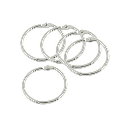 Clip Closure Silver Tone Round Shape Key Chain Key Ring 5 Pcs Round Shape Keychain