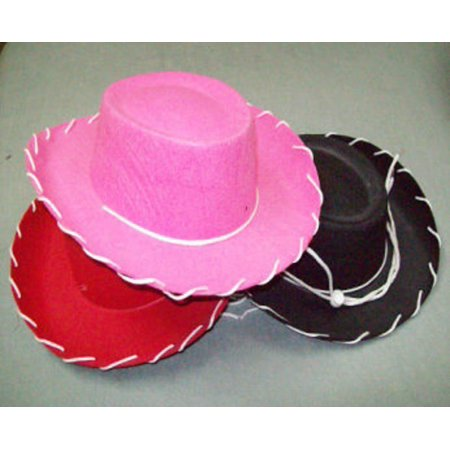 Wild West Female Costumes (Child Western Woody Cowboy Hat Black Stitched Felt One Size Wild West)