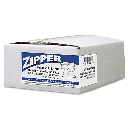 Webster Recloseable Zipper Seal Sandwich Bags, 1.15mil, 6.5 x 5.875, Clear, 500/Box WBIZIP1SS500