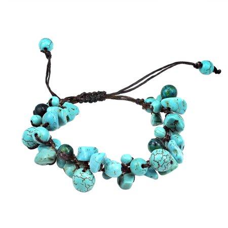Infinite Clusters Turquoise-Malachite Stone Cotton Rope Bracelet