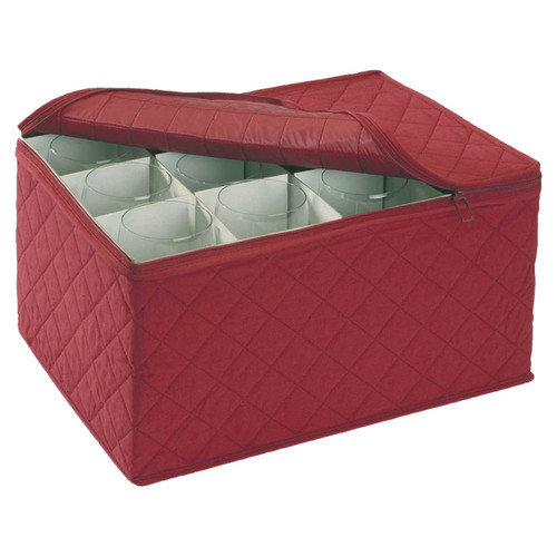 "Stemware Storage FOR 12 - Crimson Quilted Canvas (Crimson)11.25""x15.5""x9.75"""