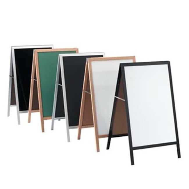 Aarco Products BA-5 A-Frame Sidewalk White Chalkboard - Black Aluminum