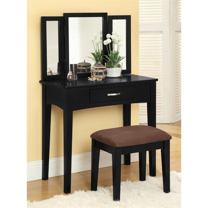 Furniture of America Isabellina Vanity Set with Stool in Black