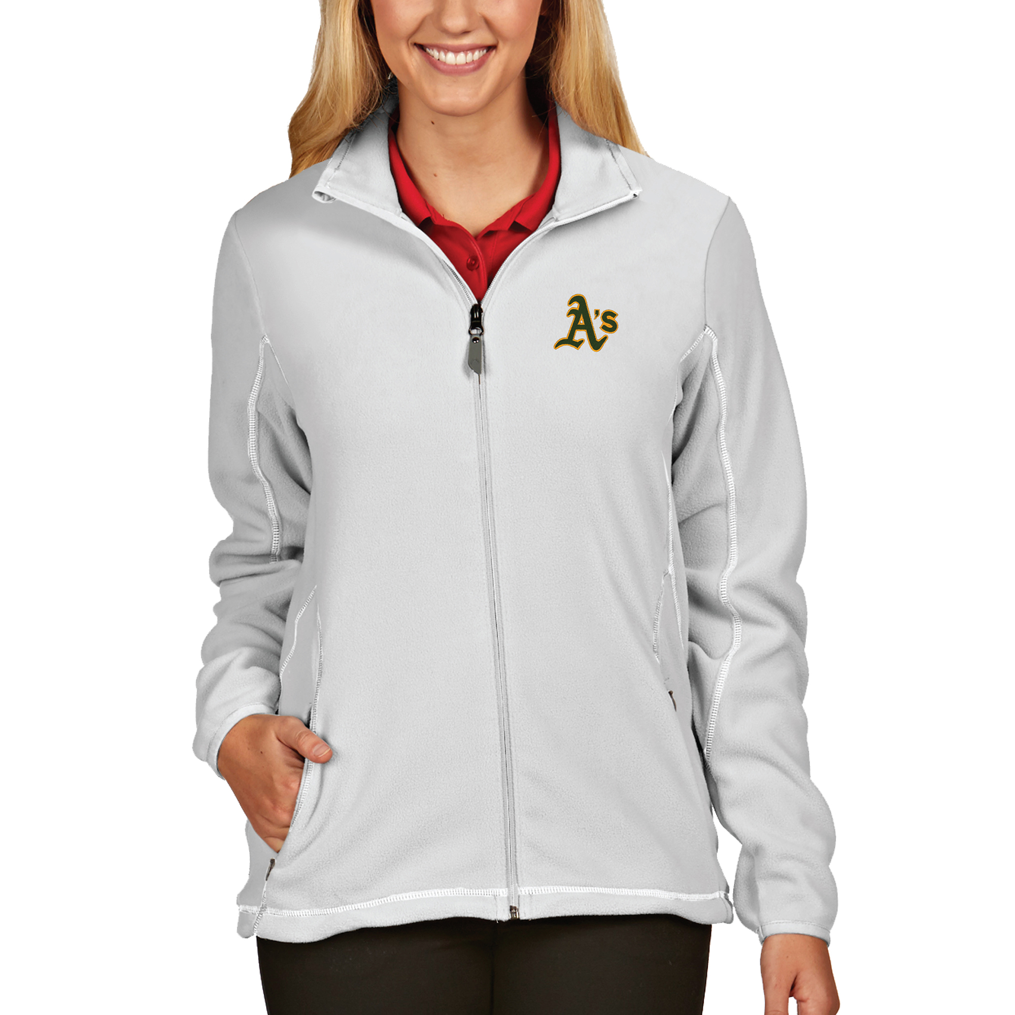 Oakland Athletics Antigua Women's Full Zip Ice Jacket - White