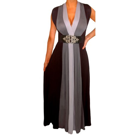 Funfash Plus Size Clothing Women Black Heather Gray Slimming Block Maxi Dress