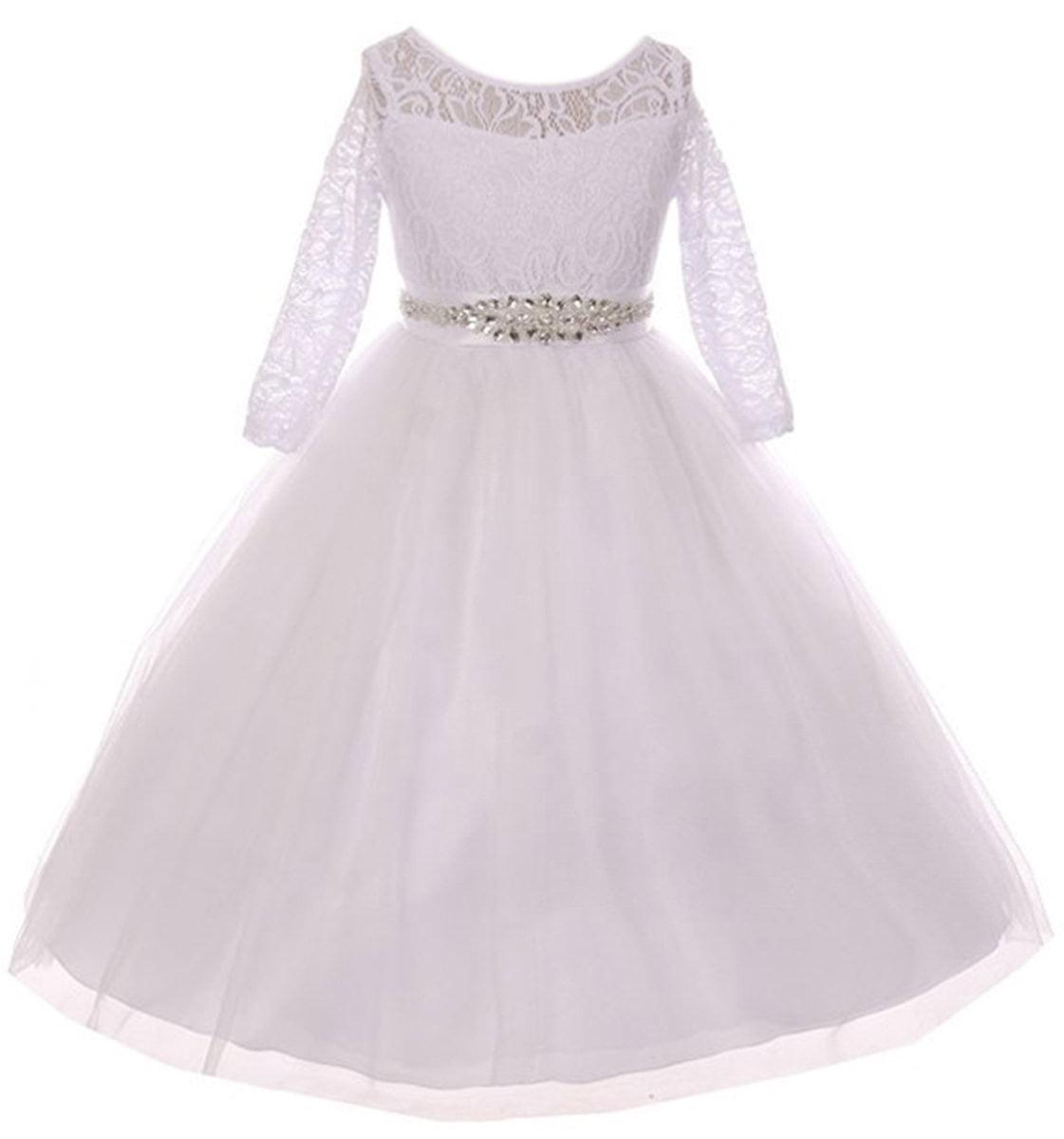 Little Girls Dress Lace Top Rhinestones Tulle Communion Party Flower Girl Dress...