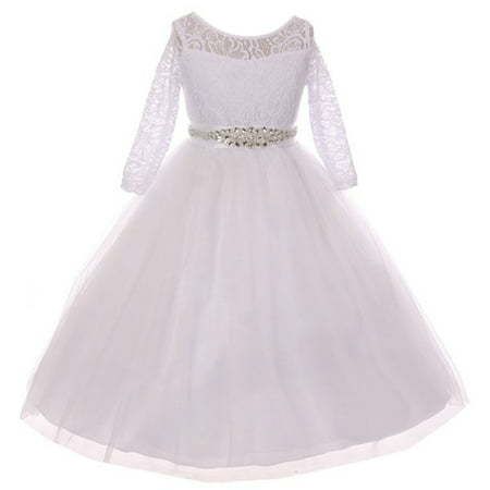 Little Girls Dress Lace Top Rhinestones Tulle Communion Party Flower Girl Dress White Size 2