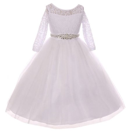 Little Girls Dress Lace Top Rhinestones Tulle Communion Party Flower Girl Dress White Size 2 (M37BK2CB) - Communion Dresses Size 16