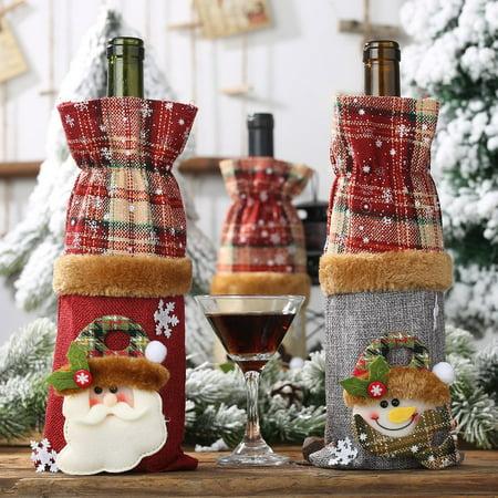 Brand New Wine Bottle Decoration Burlap Snowman Bottle Cover Wine Cover Beam Port - image 8 of 8