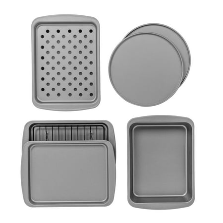BakerEze 8-Piece Non-stick Bakeware Set, Pizza Cookie & Baking Pans (Pan For Toaster Oven)