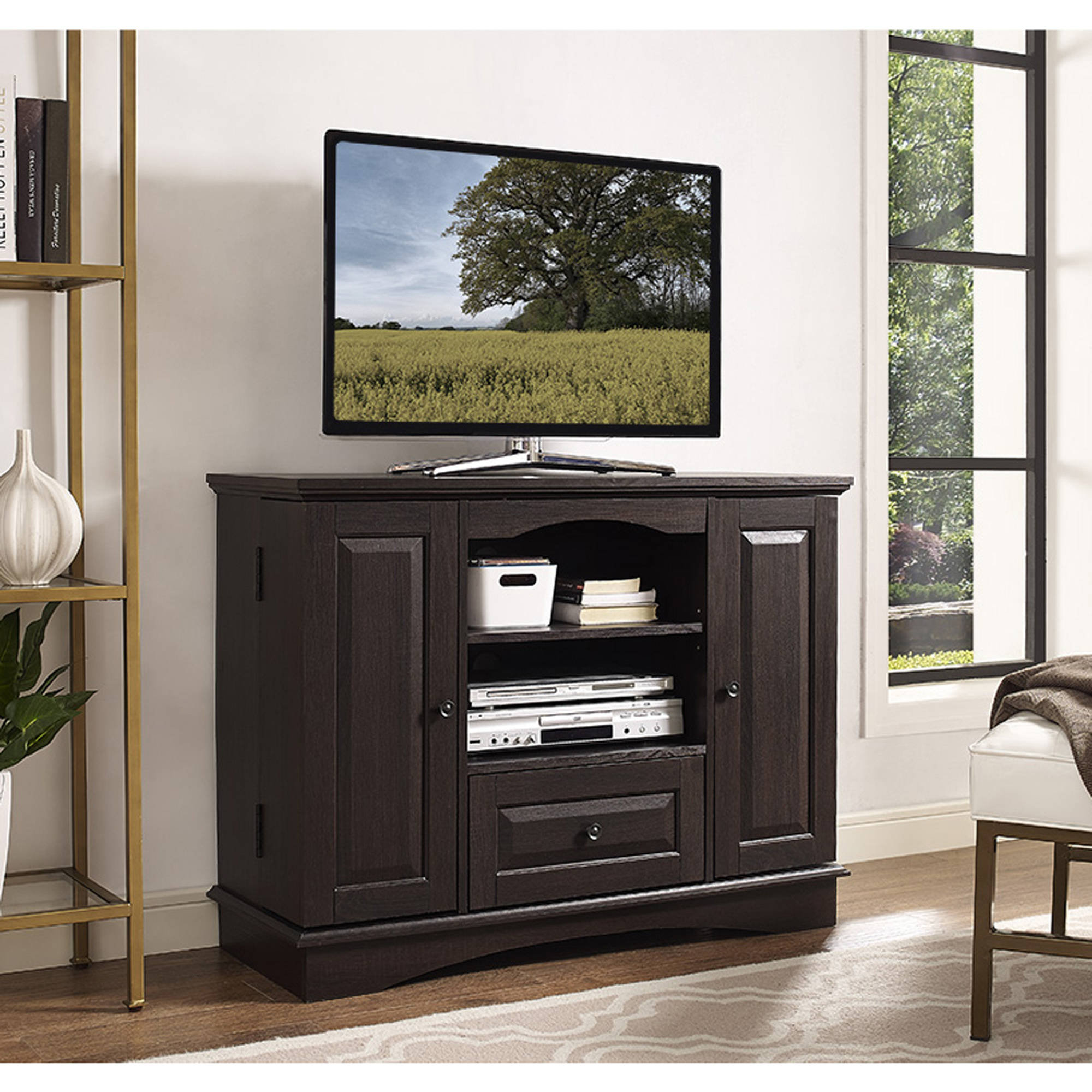 Espresso Wood HighBoy TV Stand for TVs up to 48