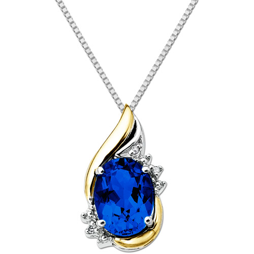 Duet Sterling Silver with 10kt Yellow Gold Oval Created Sapphire and Diamond Accent Pendant