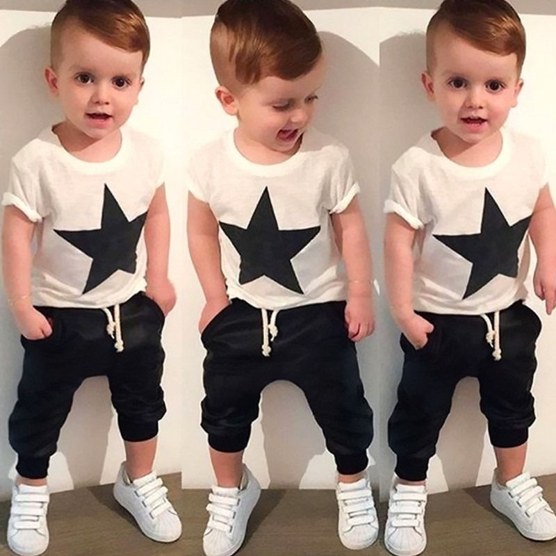 kids clothing suit 2016 summer fashion kids baby boys star printing short sleeve tops harem pants clothes 2-7T