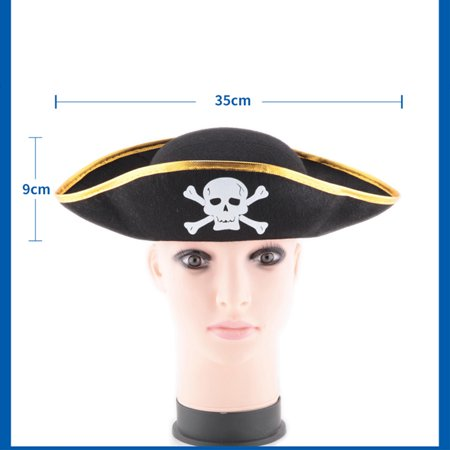 Skull Print Pirate Captain Hat, Christmas Halloween Masquerade Party, Flat type Pirate Hat Performing Props Style:Golden side