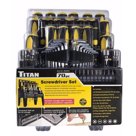 Titan 70 Pc Screwdriver Organizer Set with Storage Rack, Hex Keys, Nutsetters