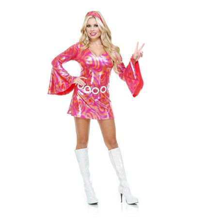 Halloween Disco Diva Hot Fuchsia Swirl Adult Costume