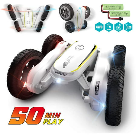 DEERC RC Cars Stunt Car Toys for Kids Demo Mode Music & Led Lights Control 4WD Double Sided Fancy Rotating 360° Flips Vehicles 2 Batteries for 50 Min Play Toy Gifts for Boys & Girls
