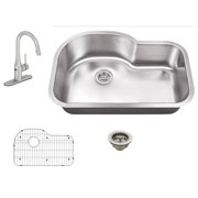 All-in-One Undermount Stainless Steel 29-1/2 in. 0-Hole Single Bowl Kitchen Sink with Faucet