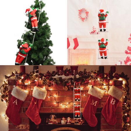 Ladder Christmas Tree.Santa Claus Climbing On Rope Ladder Christmas Tree Indoor Outdoor Hanging Ornament Decor Christmas Xmas Party Home Door Wall Decoration