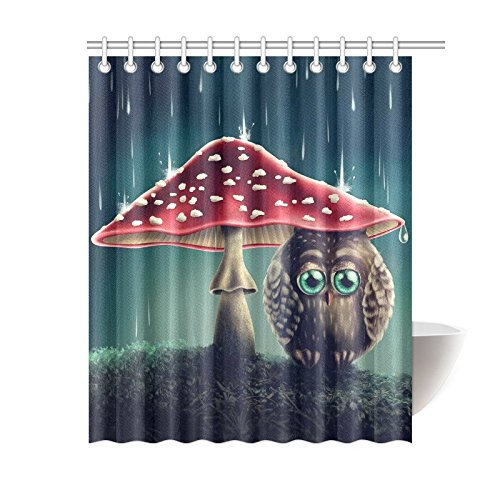 Bpbop Little Owl Sitting Under Red Mushrooms Shower Curtain Cute Animal Polyester Fabric Shower Curtain Bathroom Sets With Hooks 60x72 Inches Walmart Com Walmart Com