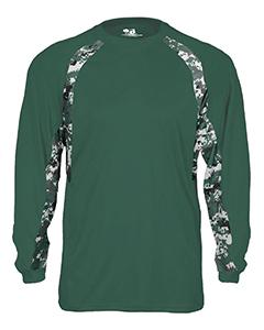 Badger Adult Digital Hook Long Sleeve Performance Tee - WHITE/ BLCK DIGI - 4XL 4155