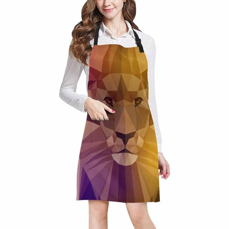 ASHLEIGH Face Of A Lion in Geometric Triangle Shapes Adjustable Bib Apron with Pockets Commercial Restaurant and Home Kitchen Apron for Women (Triangle Face Shape Men)