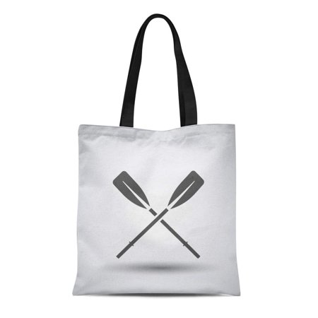 LADDKE Canvas Tote Bag Row Fishing Boat Oars Over Gray Paddle Kayak Raft Reusable Shoulder Grocery Shopping Bags - Raft Rowing Frame