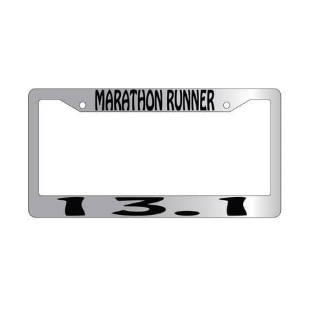 Marathon Runner 13 1 Chrome Plastic License Plate Frame