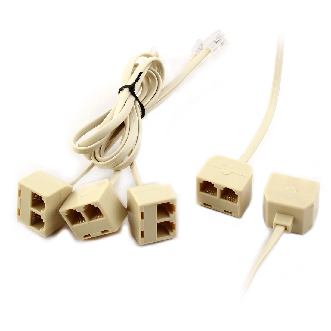 RJ11 Male to 2 Female 2 Way Telephone Cord Cable Line Connector Splitter 4 Pcs