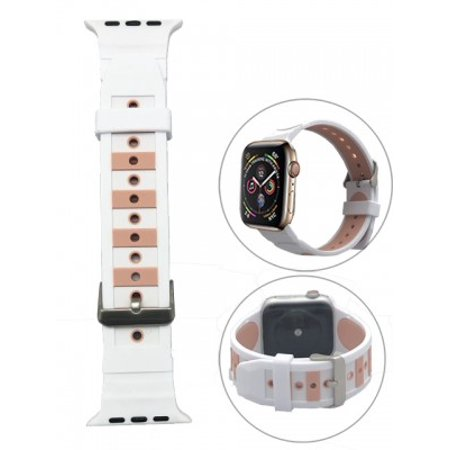 Embedded two colors Silicone Replacement i Watch Bands for Apple Watch Series 4/3/2/1-White/Pink