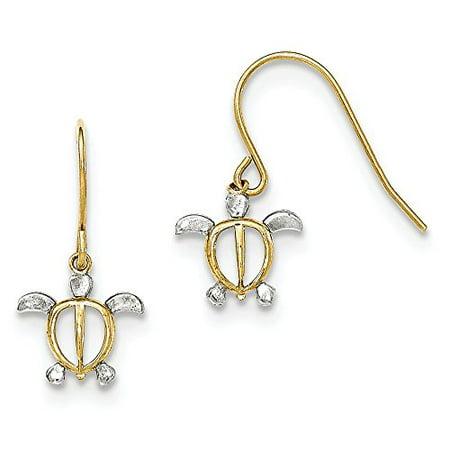 14K Two-Tone Gold Sea Turtle Dangle Shepherd Hook Earrings Shepherd Hook Earrings