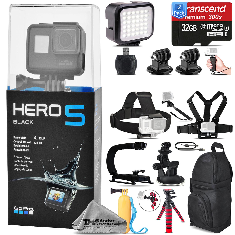 GoPro Hero 5 Black 4K Ultra HD Action Camera CHDHX-501 + 64GB - Loaded Bundle