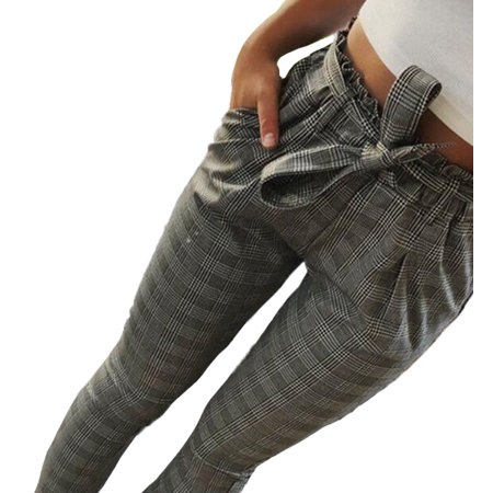 Women's Harem Pants, High Waist Bowtie Stripe Casual Trousers Bow Tie