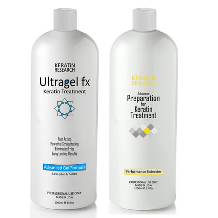 Keratin Research UltraGel FX Brazilian Keratin Blowout Hair Treatment 1000ml with Advanced Gel and Pre-Treatment Booster for Best Result All Hair Types including Coarse Curly Black Dominican (Brazilian Keratin Hair Treatment Qod Max 1000ml)