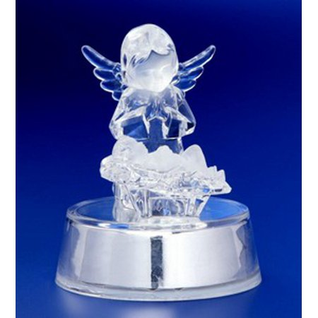 Pack of 6 Icy Crystal Illuminated Angel Watching Over Jesus Figurines 4