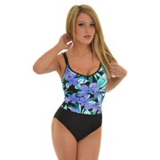 Womens Miraclesuit Swimwear One Piece Slimming Swimsuit Purple Floral Print