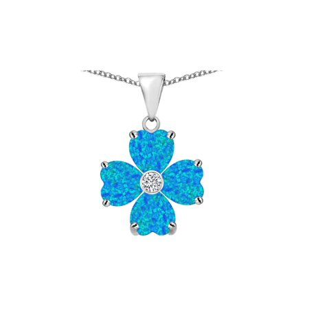 Lucky Opal Necklace - Star K 6mm Heart Shape Blue Created Opal and Cubic Zirconia Lucky Clover Pendant Necklace in Sterling Silver