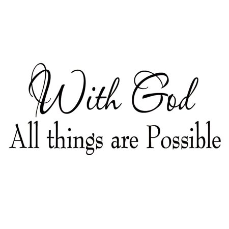 VWAQ With God All Things Are Possible Faith Wall Decals Religious Quotes Family Scripture Home Decor Christian Vinyl Wall Art