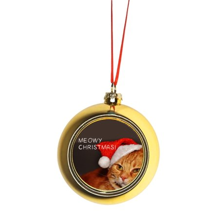 Ornaments with Cats - Mackerel Kitten Cat in a Santa Klaus Hat Bauble Christmas Ornaments Gold Bauble Tree Decoration - Cat With Santa Hat