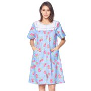 Casual Nights Women's Zip Front Woven House Dress Short Sleeves Housecoat Duster Lounger Sleep Gown
