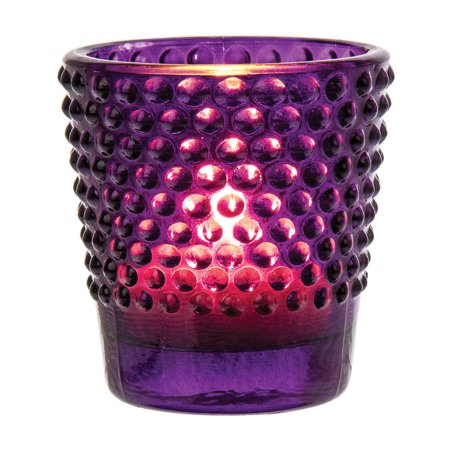 Vintage Glass Glass Candle Holder (2.5-Inch, Candace Design, Hobnail Motif, Purple) - For Use with Tea Lights - For Home Decor, Parties, and Wedding (Glass Hobnail Basket)