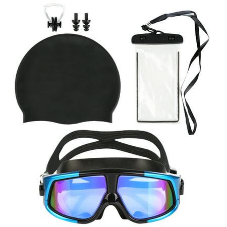 e7267dfaa1e7 Swimming Goggles-Mens Womens Swim Goggles Anti-Fog Swimming Goggles  Leakproof Silicone Frame Swim Glasses + Swim Cap + Nose Clip + Ear Plugs +  Waterproof ...