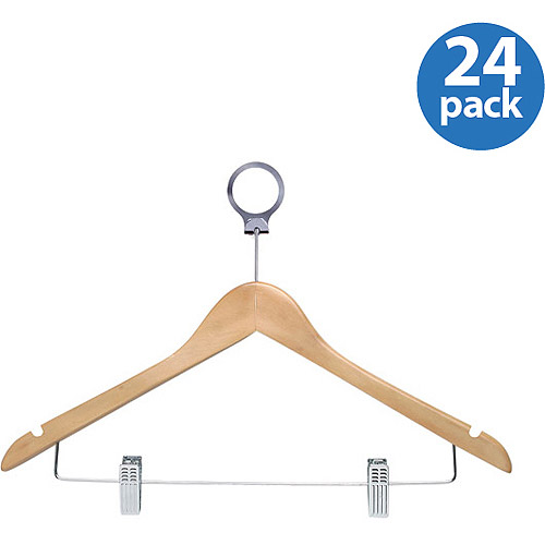 Honey Can Do 24pk Hotel Hangers with Clips, Maple