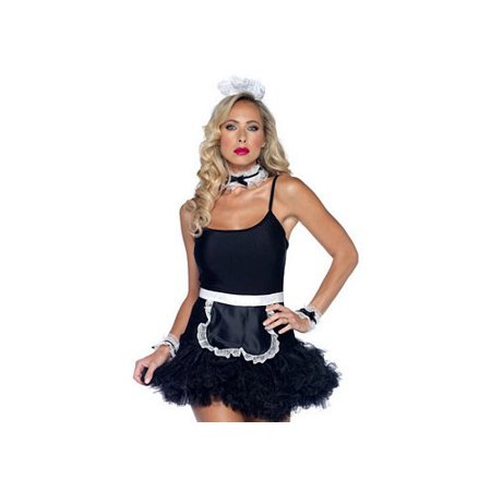 Leg Avenue Women's 4 Piece French Maid Costume Kit, Black/White, One Size](Plus Size Maid Costumes)